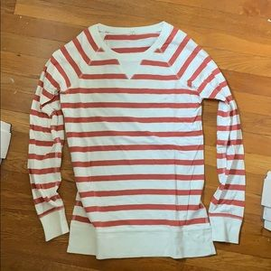 JCrew red and off-white striped top, medium